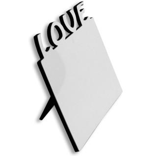 """Portafotos horizontal de madera de 180 x 150mm con texto """"Love"""" - Detalle lateral"""