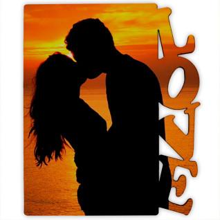 """Portafotos vertical de madera de 150 x 180mm con texto """"Love"""" - Detalle ejemplo personalizado"""