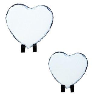 Portafotos para sublimación de piedra pizarra forma corazón