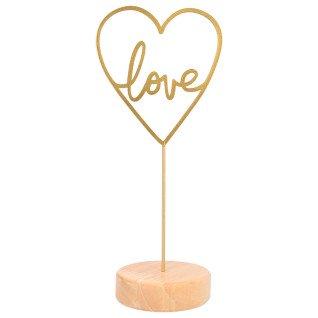 Portamensajes de madera con corazón dorado Love