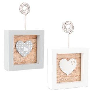 Portamensajes de madera con corazón serie Cecilia