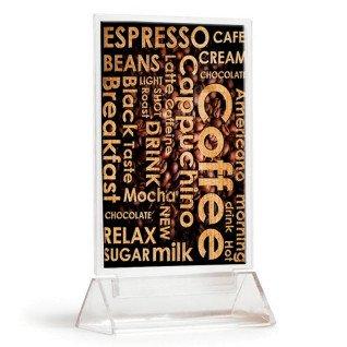 Portamenús de metacrilato formato A6 - Muestra para Cafetería