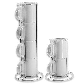 Sets de tazas blancas para sublimación apilables con soporte