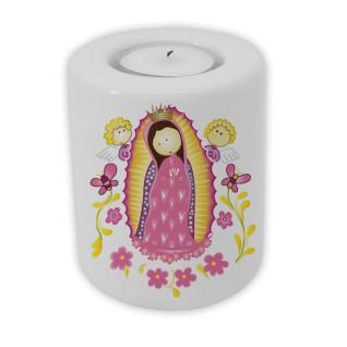 Soporte de cerámica para velas Ø 75 x 100 mm - Personalizado Virgen