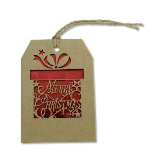 Tarjeta de Navidad colgante con motivo regalo