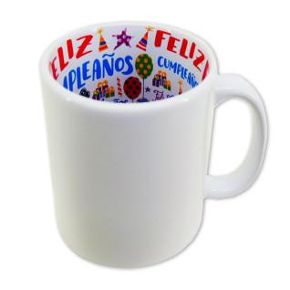 """Taza blanca con interior impreso diseño """"Feliz Cumpleaños"""""""