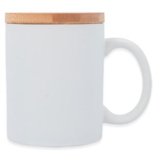Taza blanca mate con tapa de madera de bambú