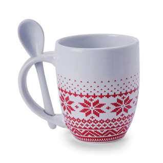 Taza cerámica blanca motivo navideño con cucharilla