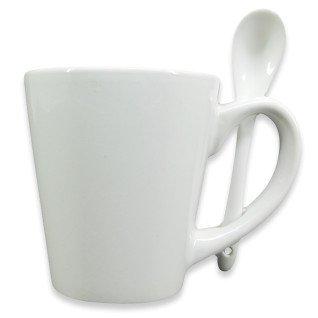 Taza cónica de 12oz blanca con cuchara