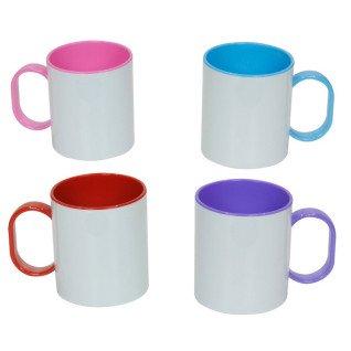 Tazas de plástico con interior y asa de color