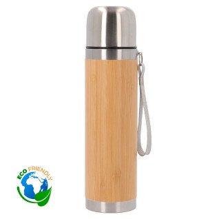 Termo de 420ml de acero inoxidable y bambú