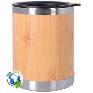 Vaso termo de acero inoxidable y bambú con tapa