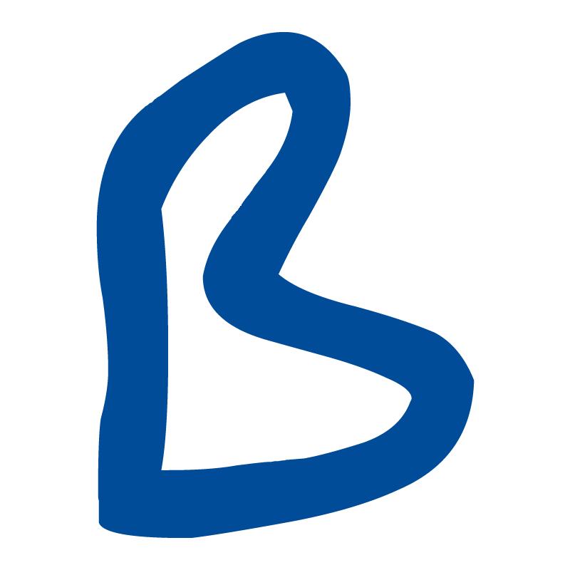 Identificador de metacrilato transparente con alfiler abierto y cerrado