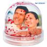 Bolas de nieve con foto - Copos de corazones rojos