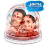 Bola de nieve corazones rojos con foto - Personalizada