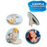 Chapas redondas Ø75mm - Chapas personalizadas modelos: doble espejo y sobremesa