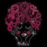 Diseño pedrería cabello con lazos rosas