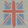 Diseño pedrería y lentejuela bandera UK en camiseta