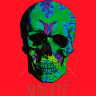 Diseño Transfer calavera muerte - Sobre tejido rojo