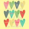 Diseño Transfer Corazones de colores - Pack 3 uds - Sobre tejido claro