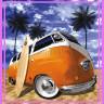 Diseño transfer furgoneta surf - Pack de 4 uds - Sobre tejido color