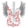 Diseño Transfer Guitarra, Rosas y Alas pack 4 uds