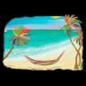 Diseño Transfer Hamaca en palmeras - Pack 3 uds - Sobre tejido oscuro