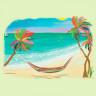 Diseño Transfer Hamaca en palmeras - Pack 3 uds - Sobre tejido medio