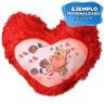 Funda cojín para sublimación tacto peluche forma corazón rojo - Ejemplo personalizado