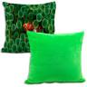 Fundas de tejido felpa para cojines con reverso de color - Ejemplo personalizado y reverso verde lima