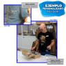 Identificador de aluminio plateado con alfiler y clip - Ejemplo de uso y personalización