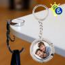 Llavero para sublimación cuelgabolsos plegable - Ejemplo de personalización y uso redondo