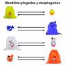 Mochilas plegables infantiles animales y colores - Detalle mochila plegada y desplegada en bolsillo