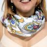 Pañuelo de tejido vaporoso de 100 x 100 cm - Estampado en el cuello