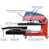 Plancha transfer neumática Brildor de 40x60cm - Vista lateral (abierta) - Detalles