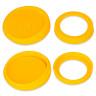 Taza para sublimación con base y tapa de silicona - Anverso y reverso de los accesorios