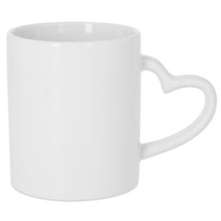 Sublimation Heart Handle Mug - White