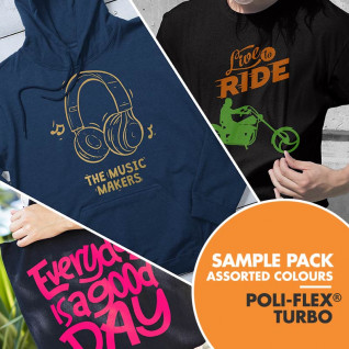 Poli-Flex® Turbo Heat Transfer Vinyl - Sample Pack - 50 Assorted Colours
