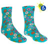Sublimation Socks & Inserts - No Heel - One Size - Full print example