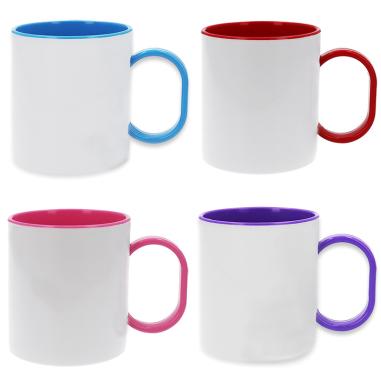 Mug sublimable - Anse et intérieur de couleur - Polymère