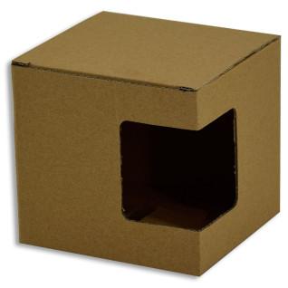 Boîte pour mugs avec fenêtre - Carton marron - Lot de 12 unités
