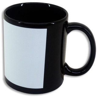 Mug noir sublimable avec patch blanc - Latéral - Détails du rectangle blanc