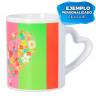 Mug sublimable avec anse cœur - Blanc - Exemple de sublimation