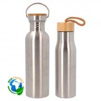 Botella de acero inoxidable con tapón de bambú