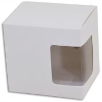 Caja de cartón con ventana recubierta de fieltro sublimable para taza