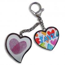 Colgante tipo mosquetón con dos corazones - Personalizado 1