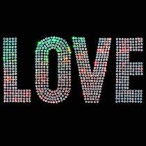 Diseño de Lentejuela brillante multicolor LOVE