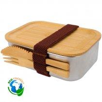 Fiambrera de acero inoxidable con cubiertos y tapa de bambú