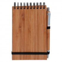 Libreta de madera de bambú con bolígrafo