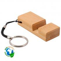 Llavero soporte para móvil de bambú - Pack de 5 uds